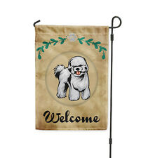 Welcome BICHON FRISE DOG Yard Patio House Banner Garden Flag w/ Iron Stake