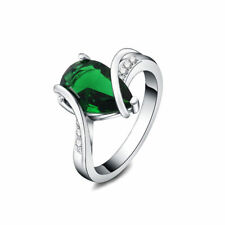 Silver Ring Fashion Cute nice green lady women Crystal Color Rings Jewelry nice
