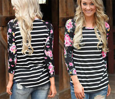 Women's Sexy Casual Tops T-Shirt Loose Blouse Cotton Long Sleeve Plus Size w20