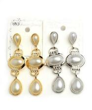 NEW..Stunning Bling Glam Faux Pearl with Rhinestones Drop Dangle Earrings.