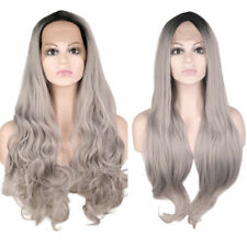 Front Lace Wig Women's Stylish Silver Gray Black Root Straight / Wavy Long Wig
