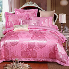 Royal Rose Floral Satin Jacquard Egyptian Cotton Queen King Size Quilt Cover Set