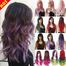 Big Sale Ombre Hair Wig Women Long Wavy Straight Full Wig Anime Cosplay Party Bc