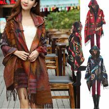 Bohemian Collar Plaid Cape Cloak Poncho Jacket Coat Shawl Scarf Cardigan Women