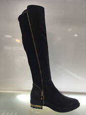 LADIES WOMENS KNEE HIGH BLACK LEATHER FAUX LOW HEEL BIKER BOOTS SHOES SIZE 6