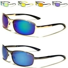 NEW SUNGLASSES MENS LADIES UNISEX METAL AVIATOR WRAP GOLF MIRRORED VINTAGE UV400