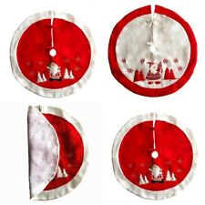 Vintage Red And White Christmas Tree Skirt Santa Claus Christmas Home Ornaments