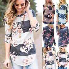 AU Autumn Womens Floral Long Sleeve T-Shirt Ladies Loose Casual Tops Blouse New