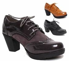 LADIES BLACK PATENT VINTAGE BROGUE SHOES WOMENS OFFICE WORK ANKLE BOOTS