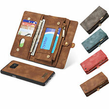 Removable Genuine Leather Purse Wallet Case Magnetic Cover for iPhone & Samsung