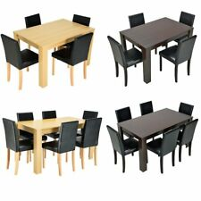 Wooden Dining Table and 4/6 Leather Chairs Set Kitchen Dining Room Furniture UK