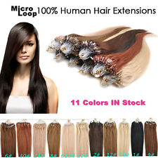 18-22inch 50g/100s Pre-Bonded Micro Ring Loop 8A Remy Human Hair Extensions