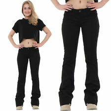New Ladies Womens Black Bootcut Flared Hipster Stretch Jeans Denim Flares