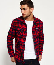 New Mens Superdry Milled Flannel Shirt Ontario Navy Check
