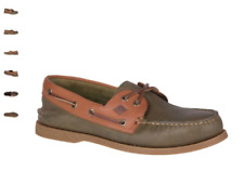 NEW Mens SPERRY TOP-SIDER Olive/Tan Leather A/O AUTHENTIC ORIGINAL Boat Shoes