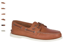 NEW Mens SPERRY TOP-SIDER Tan Leather Cross A/O AUTHENTIC ORIGINAL Boat Shoes
