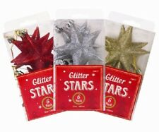6 x Glittered Stars Christmas Ornament / Tree Hanging Decorations! Festive!