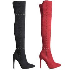 Womens Ladies High Heels Studded Over Knee Heels Thigh High Boots Stiletto Size