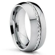 8MM Dome Titanium Men's Ring with Braided Silver Inlay