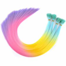 Lot 20'' Rainbow Synthetic Hair I Tip Feather Hair Extensions + Micro Ring
