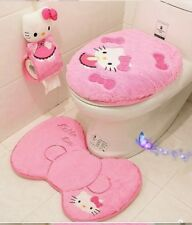Hello Kitty Bathroom Set 4Psc Toilet Seat Cover Lid Mat Paper Holder Seat Cover