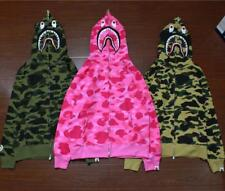 3 Colors Unisex Bape Hoodie A Bathing Ape Camo Shark Face Outerwear Jacket Coat