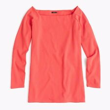 J Crew Womens Ornamental Red Stretch Long Sleeve Off the Shoulder Top M,L,XL New