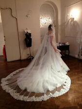New Lace Applique Edge Wedding Veil Cathedral Comb White/Ivory Free shipping Hot