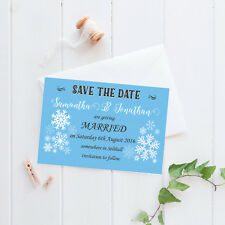 Personalised Save the Date Cards - 'Celebration' Snowflakes inc envelopes