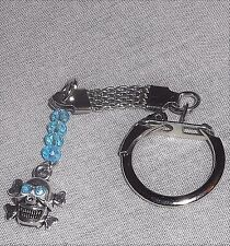 Rhinestone Crossbones SKULL Charm & Crystals Key Ring w Mesh Chain, 7 Colors