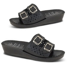 Womens Ladies Wedge Heel Slip On Cut Out Summer Sandals Beach Shoes Size 3-8