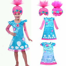 Toddler Kids Girl Wig Trolls Poppy Fancy Dress Costume Cosplay Party Outfits New