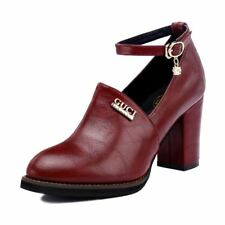Girls Womens Platform Wedge Boots Ankle Strap Shoes Court High Heel Round
