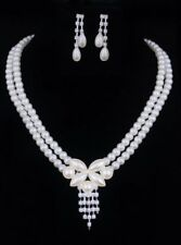 Fashion Pearl Necklace Earrings Rhinestone Bride Wedding Jewelry set Party Gifts