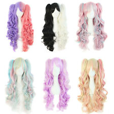 Anime Lolita Curly Wavy Long Hair Full Wig+2 Ponytail Cosplay Party Hair Wig