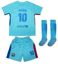 Barcelona #10 Lionel MESSI Away Kids Soccer Jersey Shorts Socks Youth Sizes