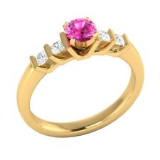 0.72 Ct Real Pink Sapphire With Authentic Diamond Solid Yellow Gold Wedding Ring