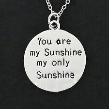 You Are My Sunshine Necklace - Pewter Charm on Chain Two Sides Engraved Song NEW