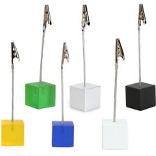 New 12cm Cube Wire Resin Base Photo Holder Card Note Memo Clip Display Gift