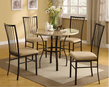 5 Piece Dining Set- Round Table Faux Marble Top Black&White and 4 Kitchen Chairs