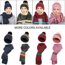 2Pcs Women Winter Knitted Hat and Scarf Sets Warm Winter Knitted Warm Cap Scarf