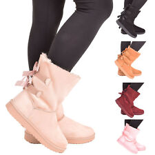 Ladies Womens Winter Boots Warm Comfy Snow Casual Fashion Mid Calf Shoe Size 3-8