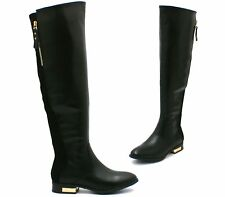 WOMENS BLACK BIKER RIDING STYLE LOW FLAT HEEL KNEE HIGH BOOTS LADIES UK SIZE 3-8