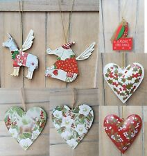 Gisela Graham Christmas Tree Decoration Hanging Heart Donkey Elephant Glitter