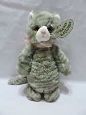 "Bearington Tabby Cat Bean Bottoms Gray Striped Plush Stuffed Animal 12"" Soft"