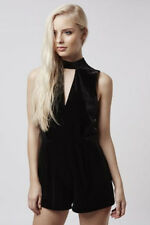 Topshop Velvet Plunge Lace Back Romper Playsuit - Black UK 6 8 10 12 14 16 18