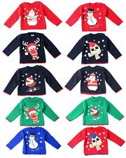 Kids Boys Girls Festive Christmas Jumpers Sweaters – Navy,Green,Red (0-2 years)