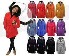 Womens Double Breasted Jacket Coat Hooded Belted Trench Warm Fleece