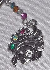 Mardi Gras Rhinestone Lady Masquerade Mask, Pearls/Crystals Key Ring/Pull Chain
