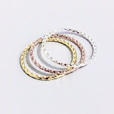 New Shiny Dainty Thin Stackable Twisted Rope Silver / Gold / Rose Gold Ring